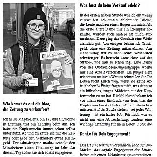 Ein Tag in der Rolle als Verkäuferin der Obdachlosenzeitung Kupfermuckn. © Straßenzeitung Kupfermuckn Linz